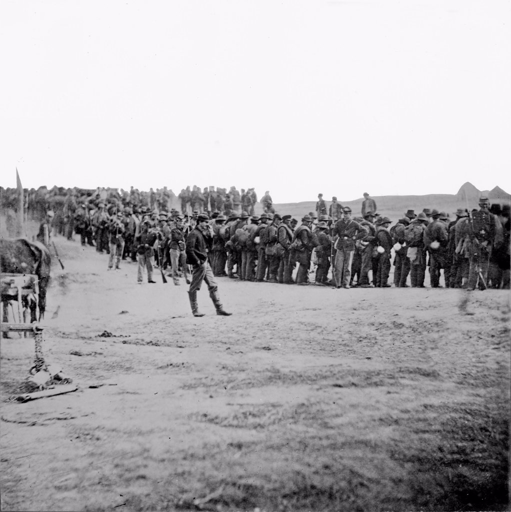 Stock Photo: 4048-4076 The Civil War, Confederate prisoners on the way to the rear, captured at Five Forks, Virginia, photograph, April, 1865.