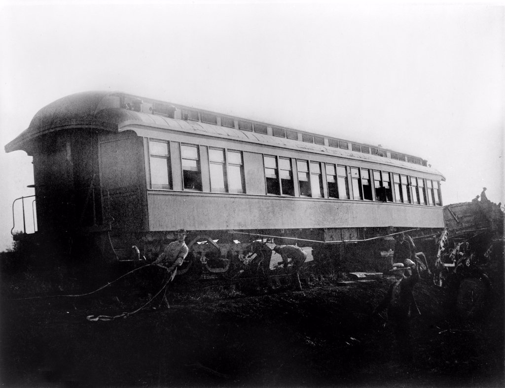 Stock Photo: 4048-4423 View of the great railroad wreck, Chatsworth horror, sleeper 'Tunis' from the south, August 11, 1887