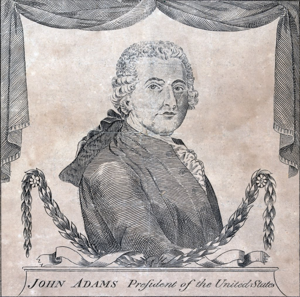 Stock Photo: 4048-4506 President John Adams, engraving by Amos Doolittle, August 14, 1799