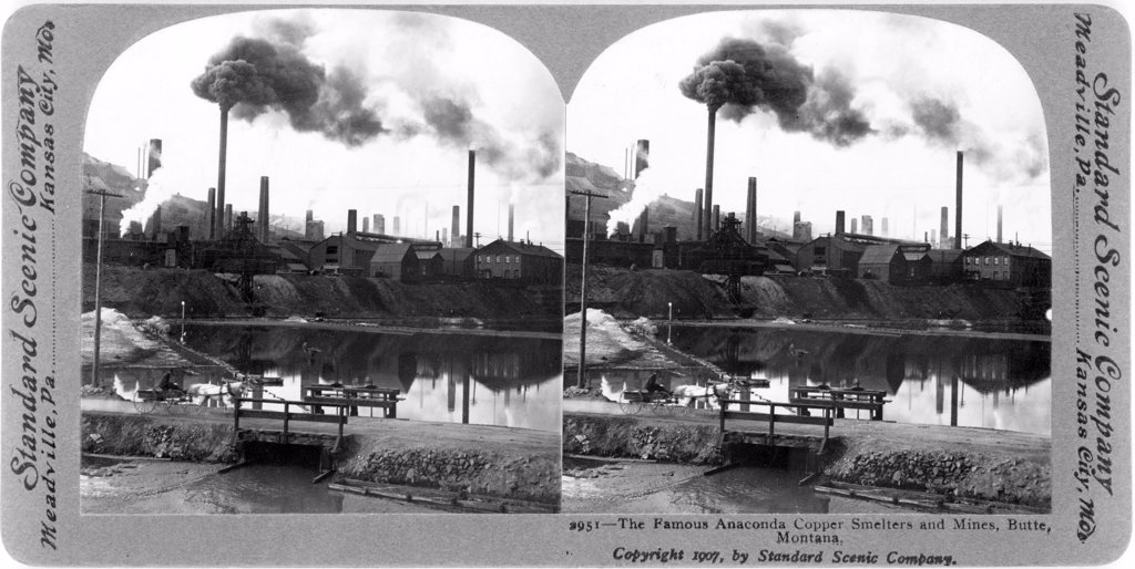 The famous Anaconda copper smelters and mines, Butte, Montana, stereo photograph by Standard Scenic Company, 1907 : Stock Photo