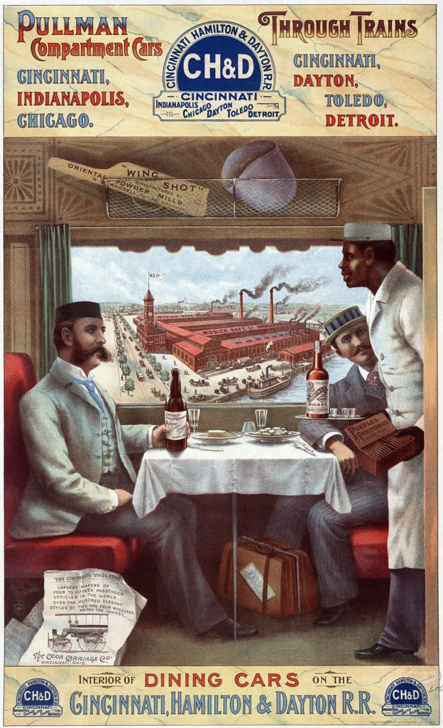 Pullman cars - interior of a dining car on the Cincinnati, Hamilton & Dayton R.R. Color lithograph, 1894 : Stock Photo
