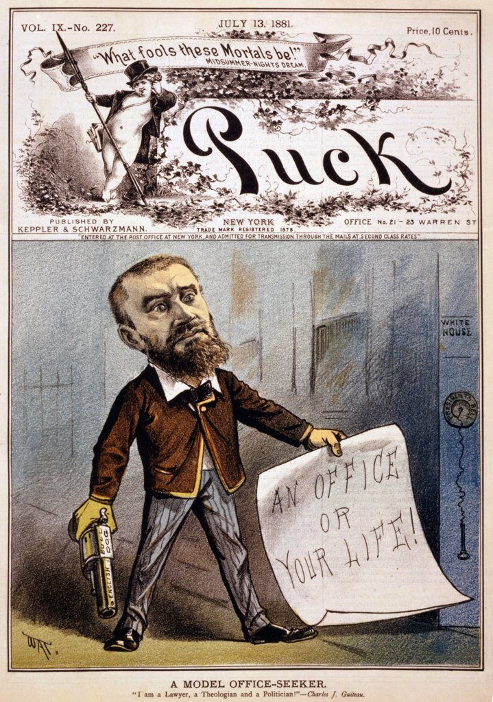 Stock Photo: 4048-4940 Cartoon showing presidential assassin Charles J. Guiteau holding pistol and paper reading, 'an office or your life!'. Color lithograph, 1881