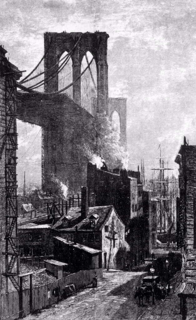The Brooklyn Bridge, 1881 engraving from Harper's Weekly : Stock Photo