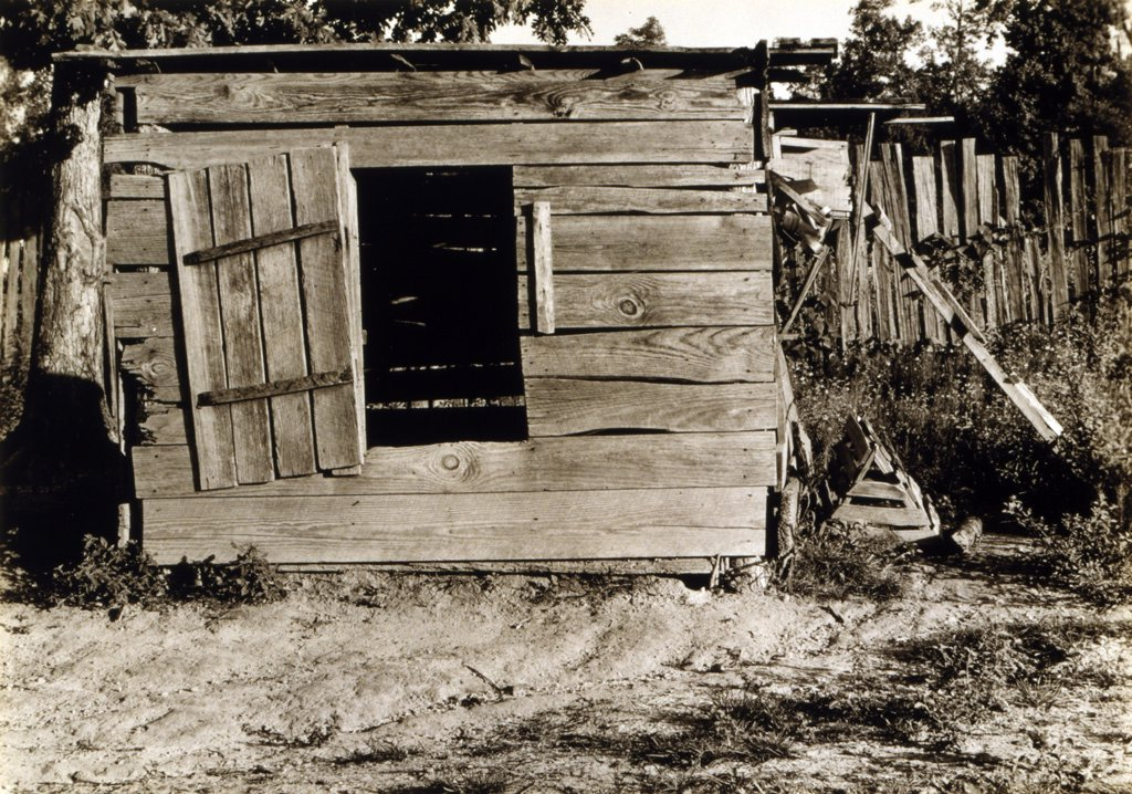 Stock Photo: 4048-5012 Chicken coop on the farm of Floyd Burroughs, cotton sharecropper, Hale County, Alabama. Published in the book, 'Let Us Now Praise Famous Men'. photograph by Walker Evans, 1936.