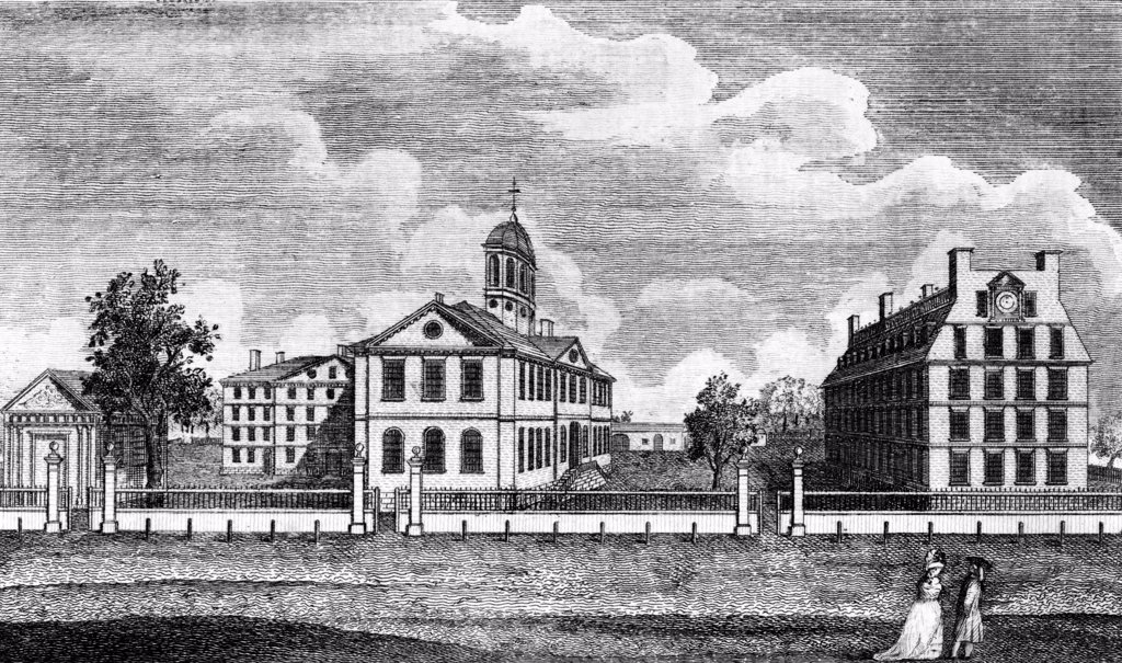 Harvard College, ca. 1767. From left are Holden Chapel, Hollis Hall, Harvard Hall, Stoughton Hall, and Massachusetts Hall. Engraved by Paul Revere from a drawing by Joseph Chadwick. etching, 1790. : Stock Photo