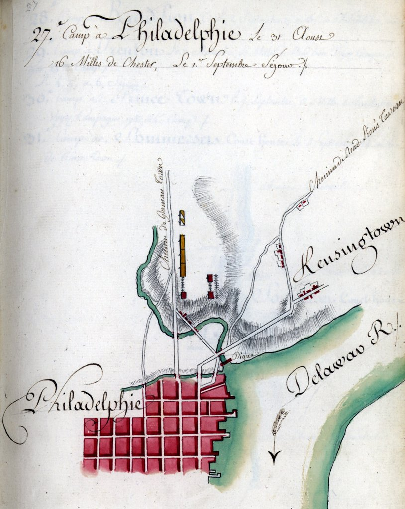 Map of Philadelphia. Drawn by du Chesnoy for Lafayette. 1778 : Stock Photo