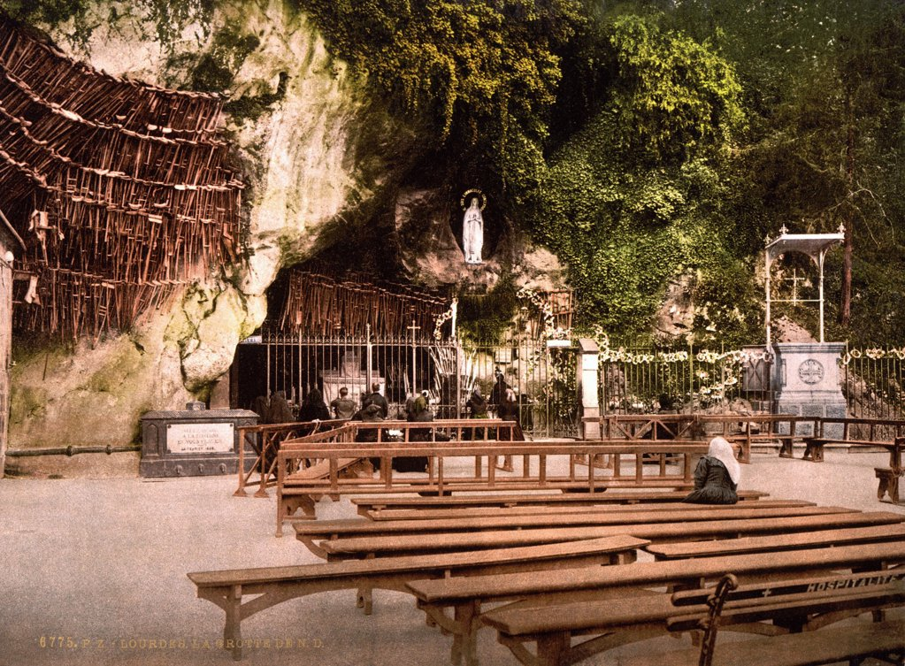 Lourdes, France, The Grotto of Notre Dame, Pyrenees, photochrom, circa 1890s. : Stock Photo