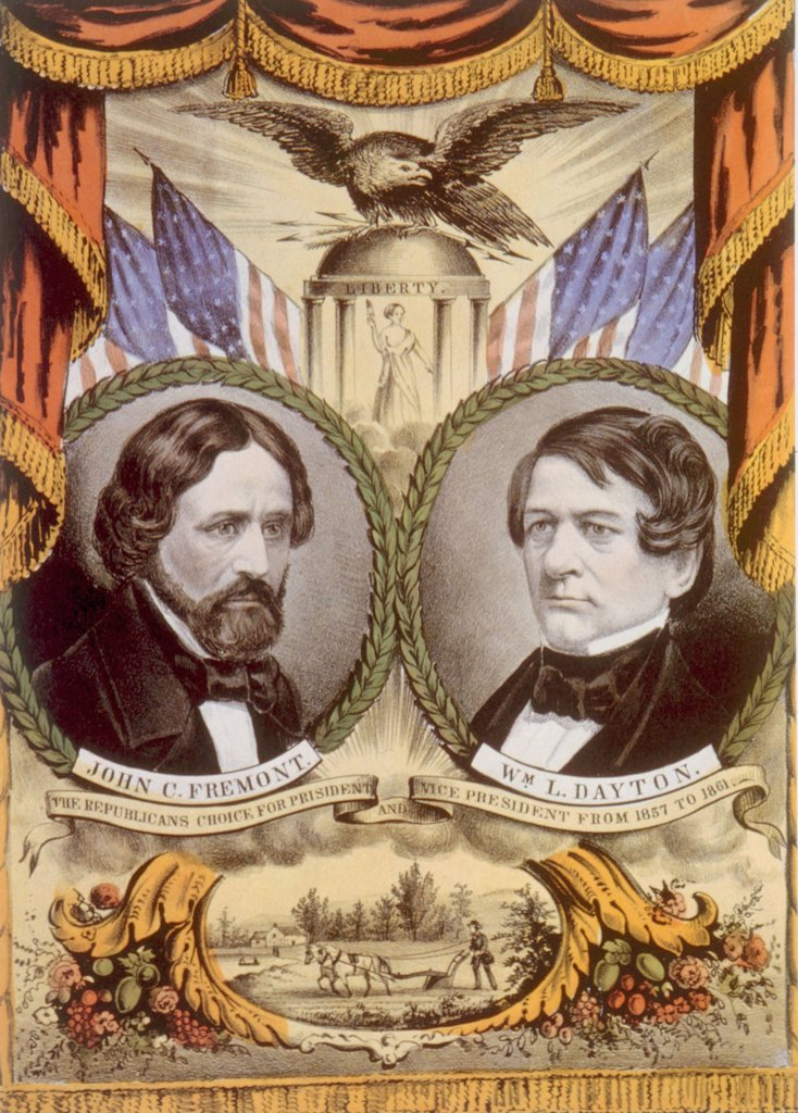 Campaign poster for the Republican ticket of John C. Fremont for president and William L. Dayton for vice president, Currier & Ives, 1856 : Stock Photo