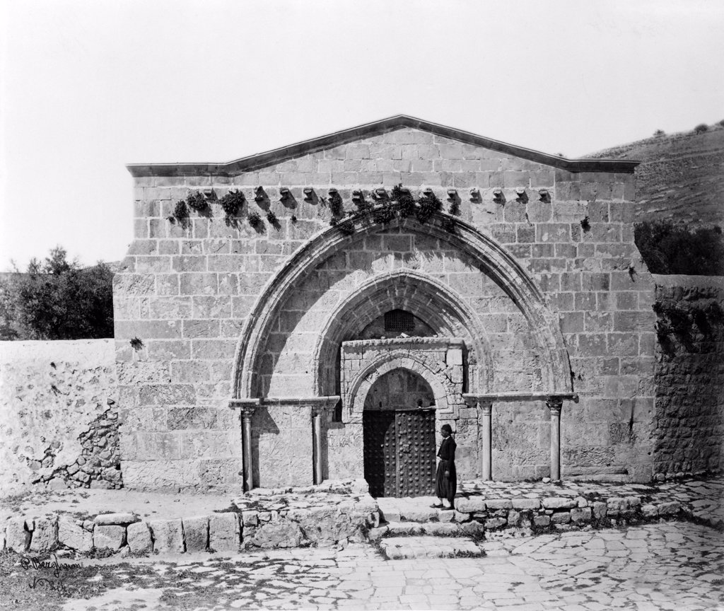 The tomb of Virgin Mary and the cave of the agony, Jerusalem, Israel, circa late 1800s. : Stock Photo
