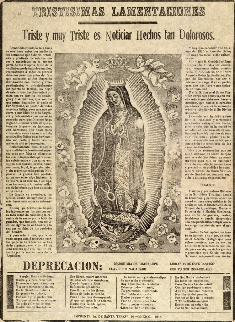 The Virgin of Guadalupe, titled: Sorrowful lamentations, how sad it is to tell of distressful events, circa 1915. : Stock Photo
