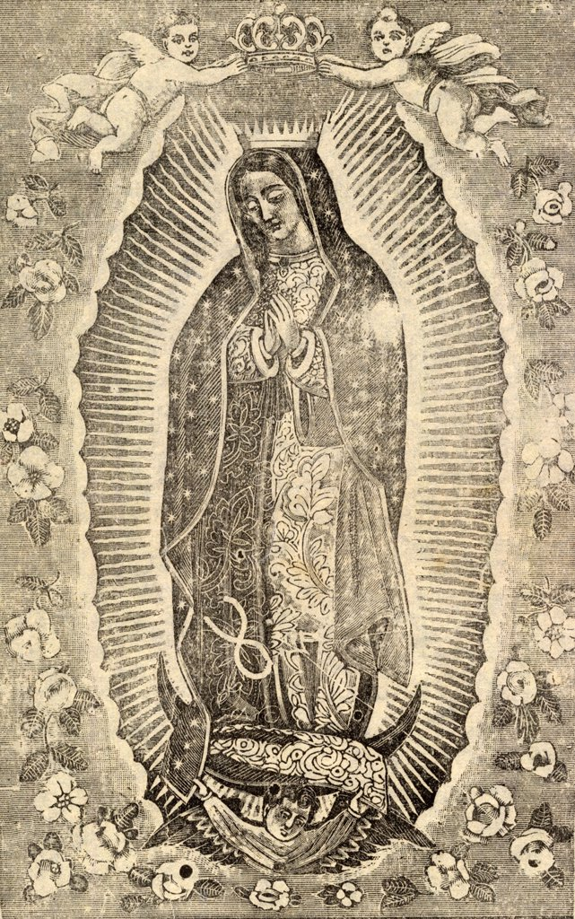Stock Photo: 4048-5218 Detail of the Virgin of Guadalupe, titled: Sorrowful lamentations, how sad it is to tell of distressful events, circa 1915.