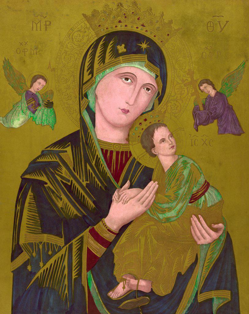 Stock Photo: 4048-5219 Woodcut of the Virgin Mary, titled: S. Maria de Perpetuo Succursu, circa 1850.