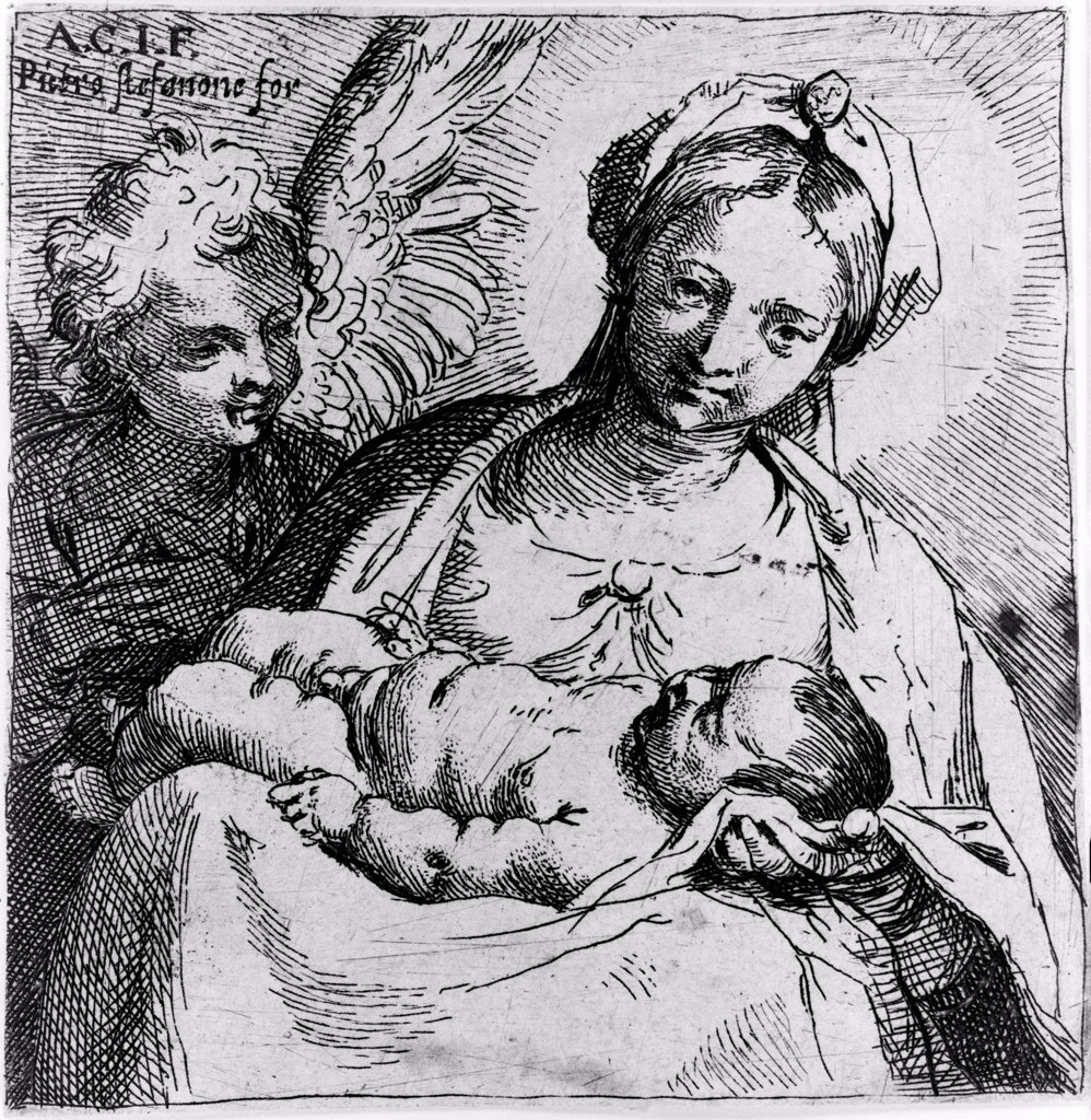 Virgin and child with angel, by Annibale Carracci, circa late 1500s. : Stock Photo