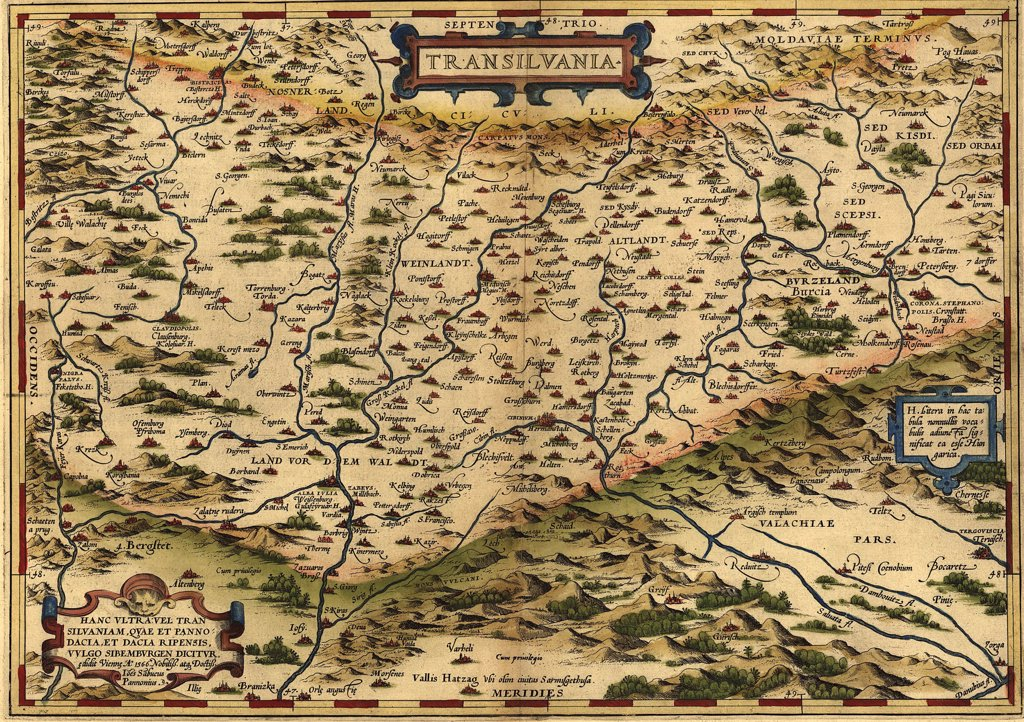 1570 map of Transylvania, now the western part of Romania and the legendary home of the vampire Dracula. From Abraham Ortelius, Theatrvm orbis terrarvm. : Stock Photo
