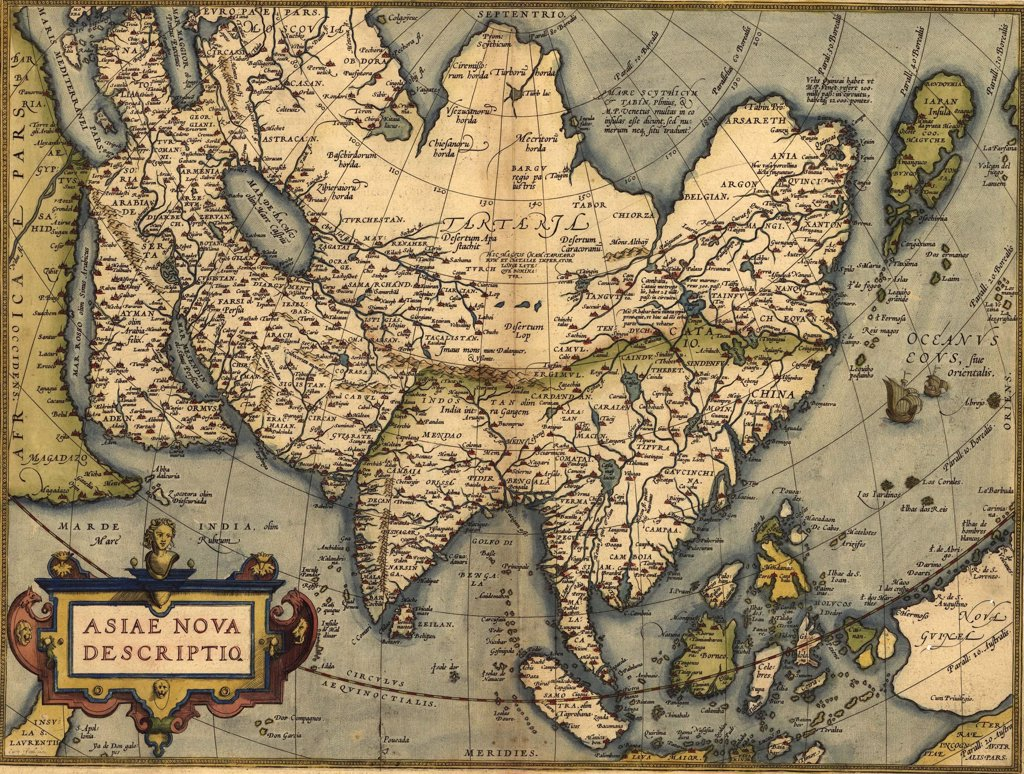 Stock Photo: 4048-5285 1570 map of Asia, from Abraham Ortelius' atlas, 'Theatrvm orbis terrarvm'(Epitome of the Theater of the Worlde).
