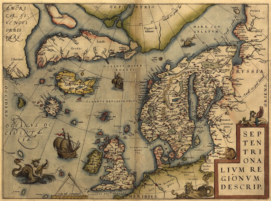 1570 map of Northwest Europe and The North Atlantic Ocean. From Abraham Ortelius' atlas, 'Theatrvm orbis terrarvm.' : Stock Photo