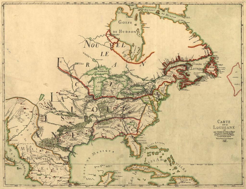 Map of North America showing the colonies of France, Spain, and Britain. At this time, Britain has the smallest territory, limited to coastal New England south to Virginia which includes present day Georgia and Carolina. 1684 : Stock Photo