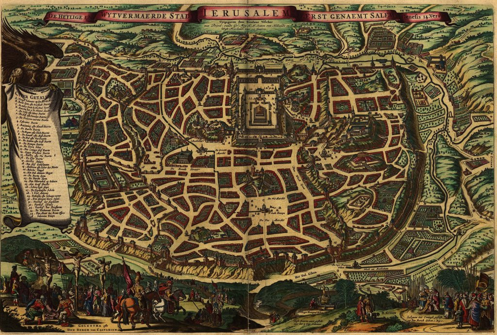 Stock Photo: 4048-5303 Imagined map from 1650, depicting Jerusalem as it existed in the Roman era. Lower section shows Christ's crucifixion and the crowning of King Solomon.  Map shows many sites, including the Temple of Jerusalem.