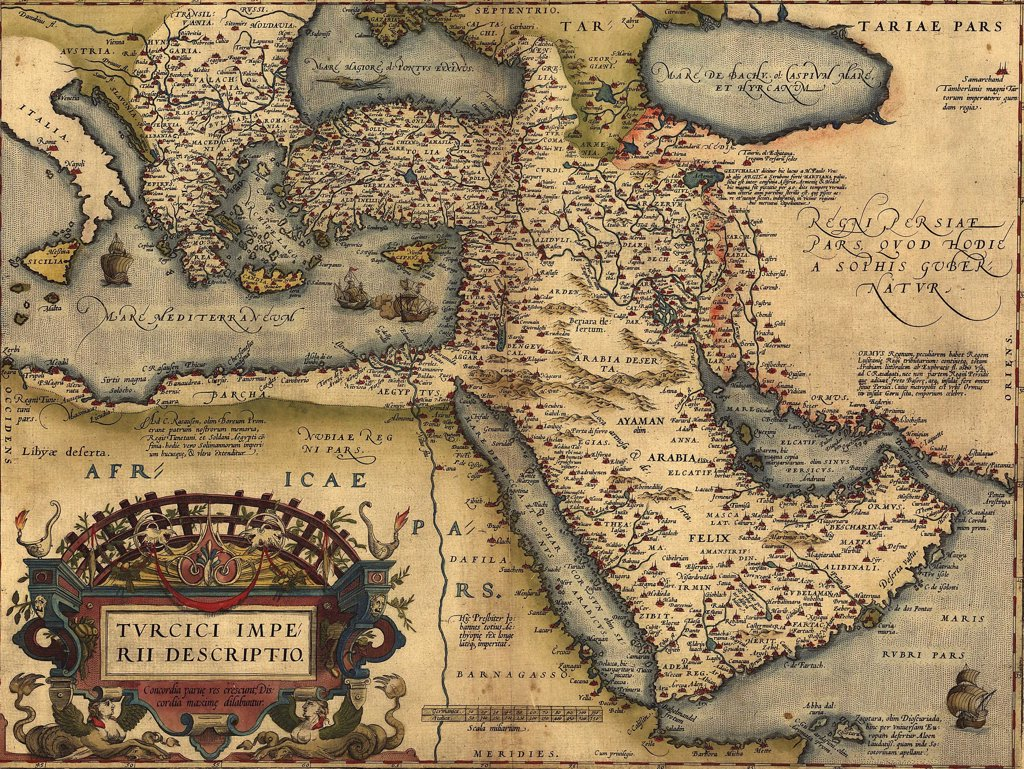 1570 map of Asia Minor, then the Ottoman Empire, from Abraham Ortelius' atlas, 'Theatrvm orbis terrarvm'(Epitome of the Theater of the Worlde). : Stock Photo
