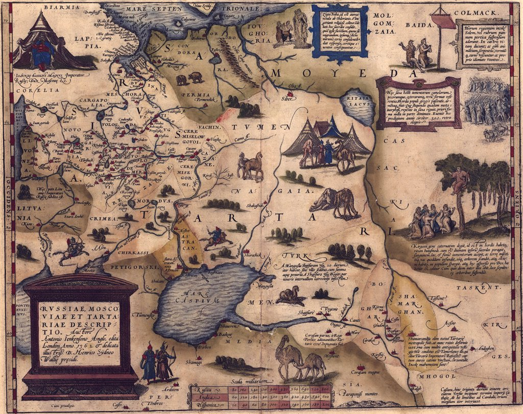 Stock Photo: 4048-5326 1570 map of Russia, then confined to Europe without access to the Baltic Sea. Tartars still occupied Asia. From Abraham Ortelius, Theatrvm orbis terrarvm.