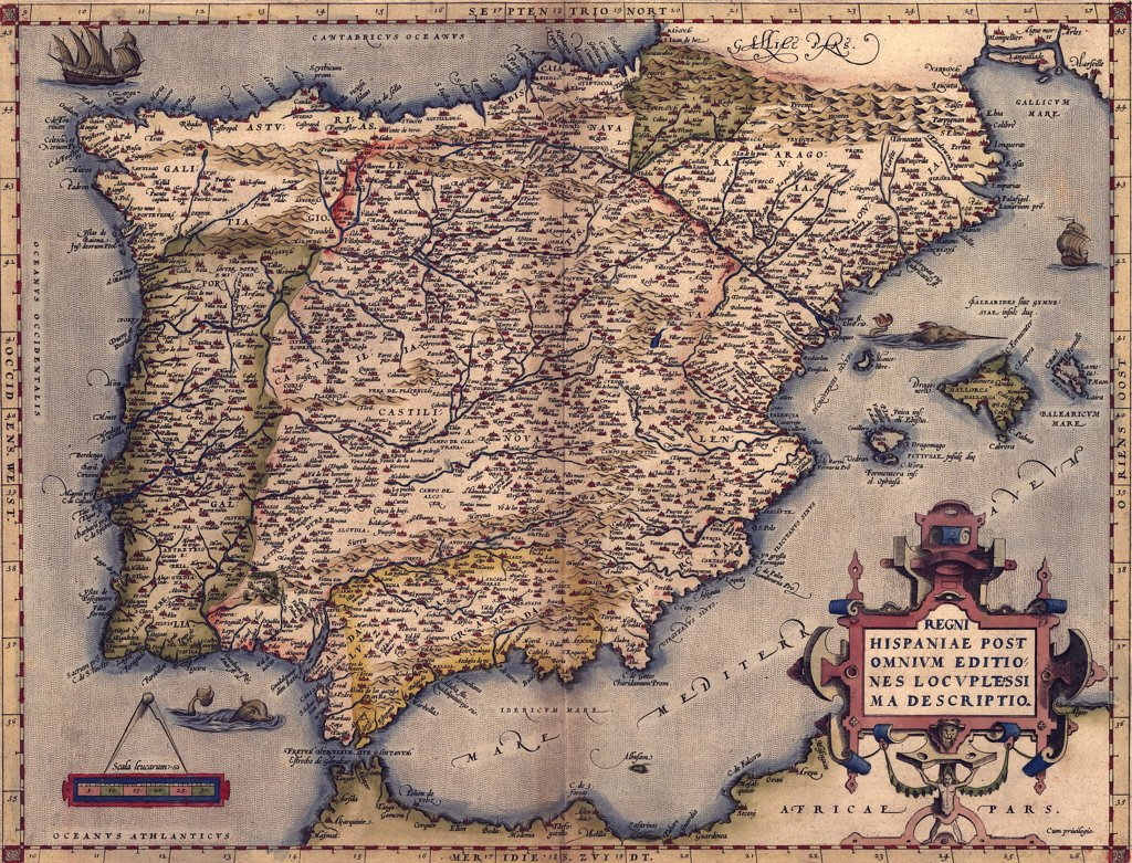 1570 map of Spain. From Abraham Ortelius' atlas, 'Theatrvm orbis terrarvm.' : Stock Photo