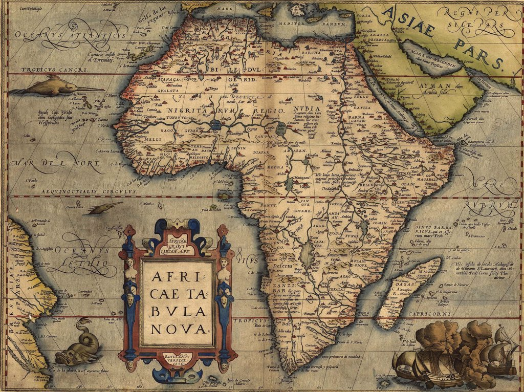 Stock Photo: 4048-5349 1570 map of Africa by Abraham Ortelius. Map shows place names,settlements,rivers, lakes mountains, coasts, and islands. South Atlantic Ocean and Eastern South America are shown.