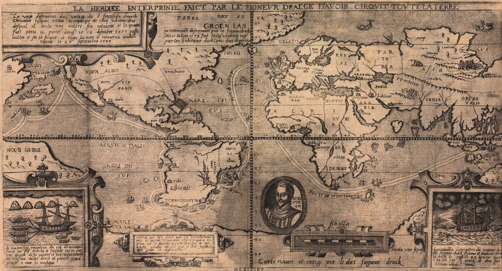 Stock Photo: 4048-5383 1581 map by Nicola van Sype, showing the Drake circumnavigation (1577-80) as a dotted line.  Map bears the  legend 'Carte veuee et corige par le dict sieur Drack' ('A map seen and corrected by the aforesaid Sir Drake').This is  the earliest of the maps which show Drake's route round the world.