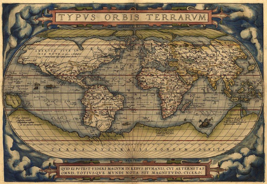 Stock Photo: 4048-5384 1570 map of the World. Australia is depicted as a large south polar continent.  From Abraham Ortelius' atlas, 'Theatrvm orbis terrarvm.'