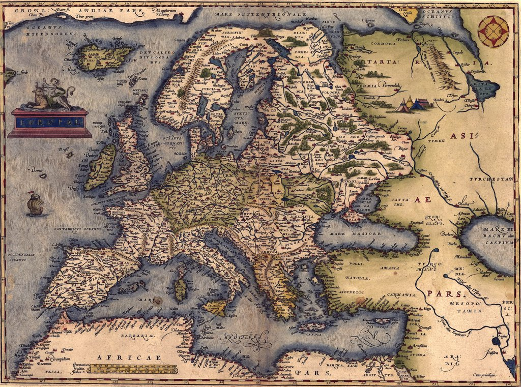Stock Photo: 4048-5387 1570 map of Europe.   From Abraham Ortelius' atlas, 'Theatrvm orbis terrarvm.'