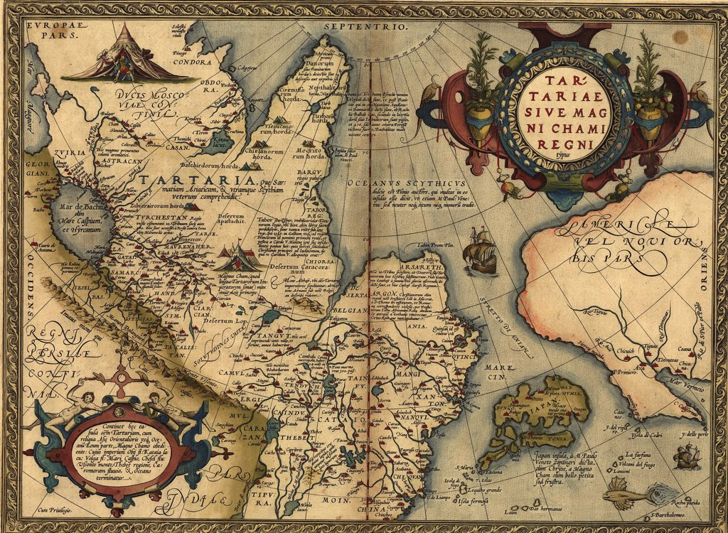 1570 map of 'Tartaria' spanning all of Northern Asia from the Ural Mountains to the Pacific Ocean. From Abraham Ortelius, Theatrvm orbis terrarvm. : Stock Photo
