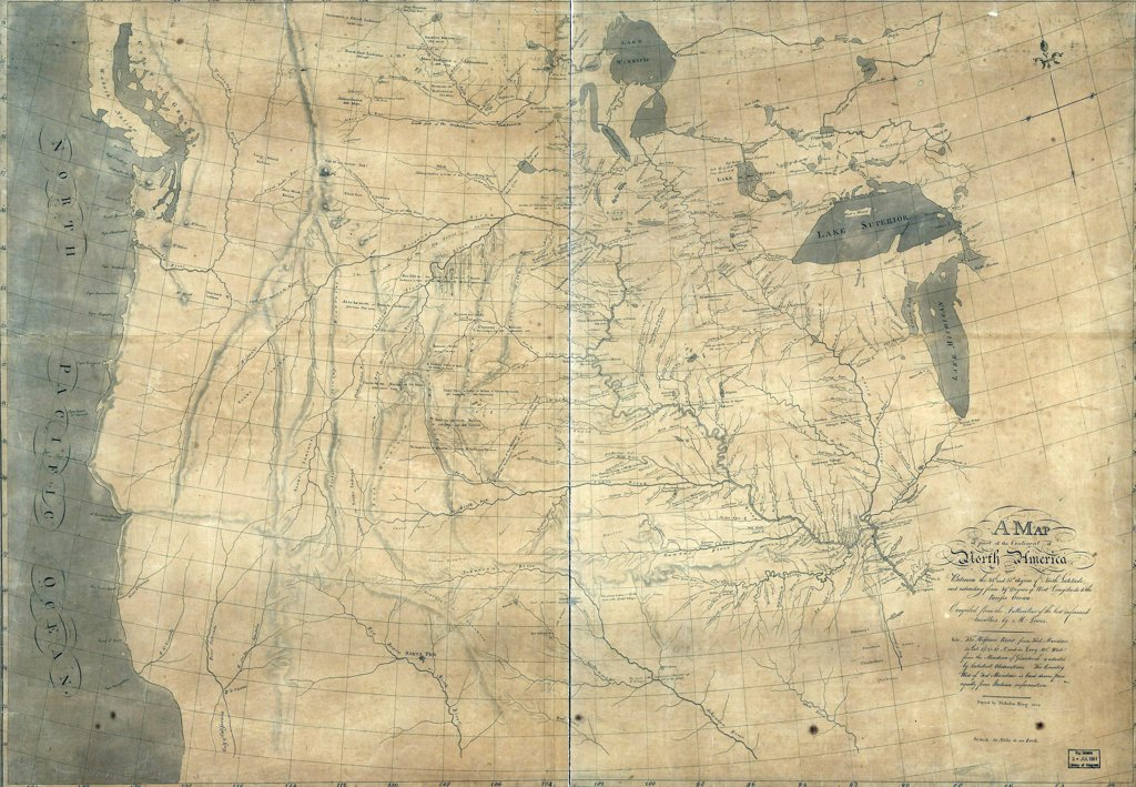 Stock Photo: 4048-5434 1805 Lewis and Clark map of part of the continent of North America compiled from informed travelers. Map covers western North America, from Great Lakes to the Pacific Ocean, including southern Canada and northern Mexico. Copied by Nicholas King from a sketch by William Clark, 1805