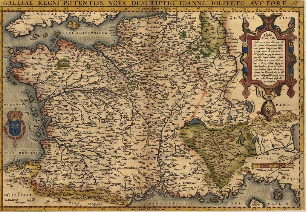 Stock Photo: 4048-5466 1570 map of France. From Abraham Ortelius, Theatrvm orbis terrarvm.