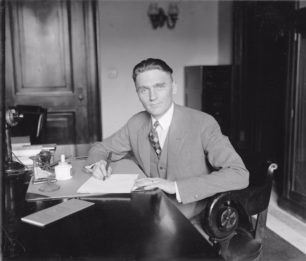 Stock Photo: 4048-5504 Senator Gerald P. Nye (1892?1971) U.S. Senate from 1925 to 1945, from North Dakota.  Nye developed the Neutrality Acts of the 1930s and supported  the America First Committee to resist  US involvement in World War II.