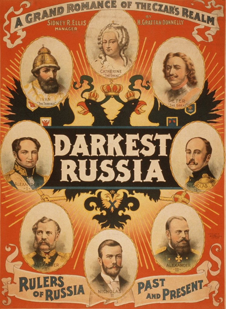 Stock Photo: 4048-5506 American theatrical poster with portraits of Russian royal rulers: Ivan the Terrible, Peter the Great, Catherine the Great, and the five last Czars.