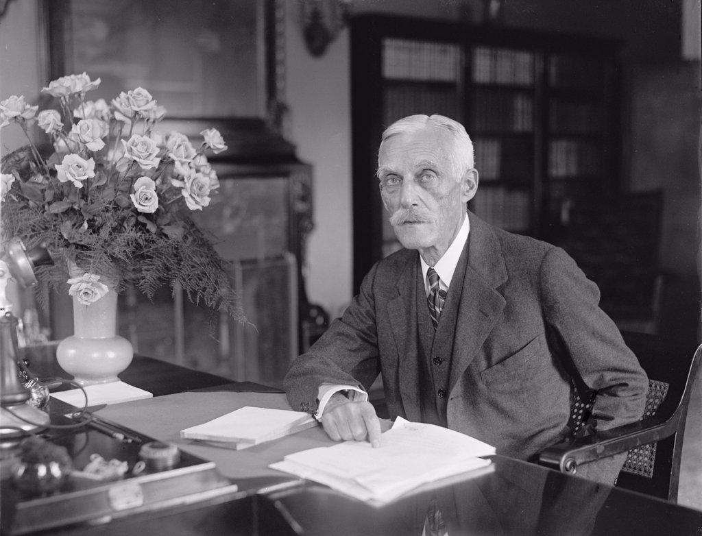 Secretary of the Treasury Andrew Mellon, (1855-1937) secretary of the Treasury (1921?32) who reformed the tax structure of the U.S. government in the 1920s. 1926 Portrait. : Stock Photo