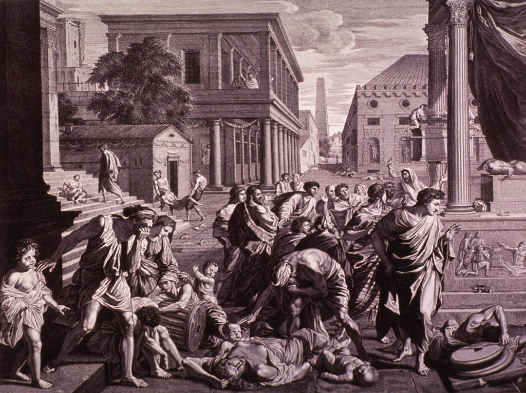 Stock Photo: 4048-5895 THE PLAGUE OF ASHDOD or EPIDEMIC AMONG THE PHILISTINES. The Old Testament scene shows God's destruction of the temple and idol of Dagon, the Semitic god of agriculture, and the death of the Philistines by plague. Engraving by Picart after Poussin painting of 1660.