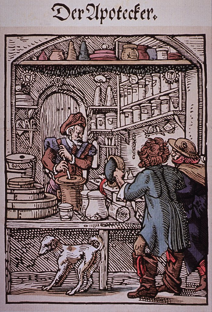 Stock Photo: 4048-5918 The Apothecary.  Two men approach a pharmacy as the druggist makes medications. 16th century German woodcut by Jost Amman.