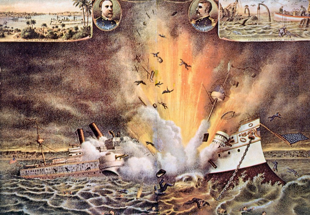 The Spanish American War, the destruction of the battleship Maine in Havana harbor, February 15, 1898 : Stock Photo