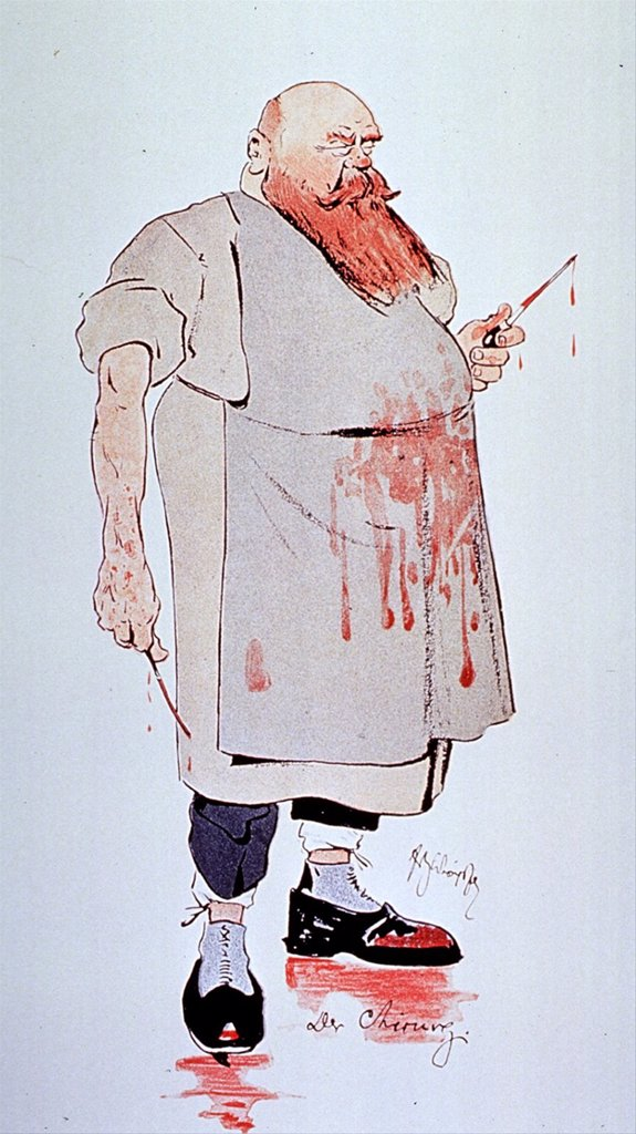 Stock Photo: 4048-5954 Caricature of a surgeon holding instruments and  wearing blood splattered apron and shoes. In the second half of the 19th century anesthesia allowed more invasive and frightening surgeries. 1906 by Fritz Schonpflug.