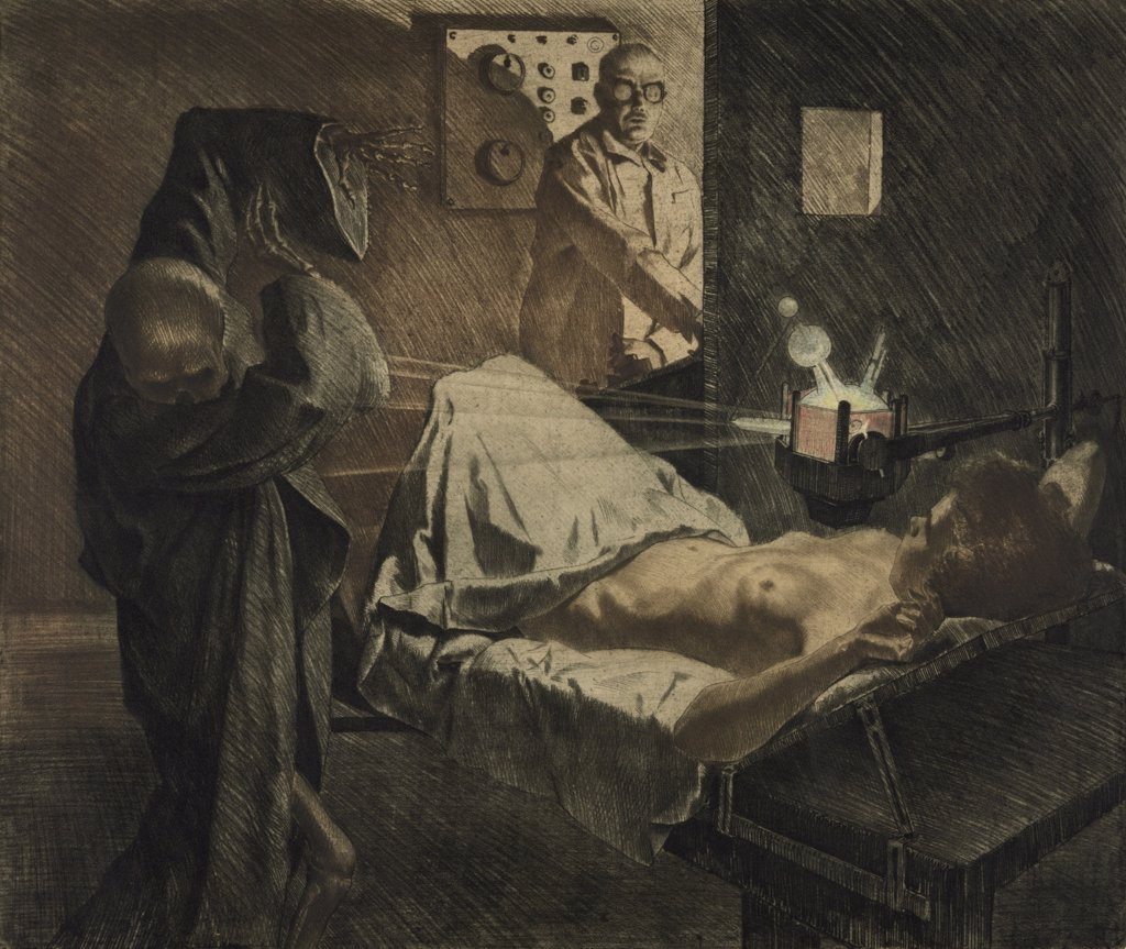 Stock Photo: 4048-5981 THE PHYSICIAN OF THE X-RAYS, depicts a physician using x-rays to repel Death,  a skeleton wearing a shroud, as it approaches a nude young woman on an operating table. Ca. 1930 print by Austrian artist, Ivo Saliger (1894-1987).