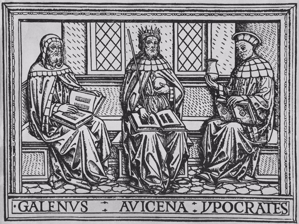 Stock Photo: 4048-6013 The three great ancient teachers of medicine: Galen (Roman), Avicenna (Persian), and Hippocrates (Greek). Woodcut from an early 15th century Latin language medical book.