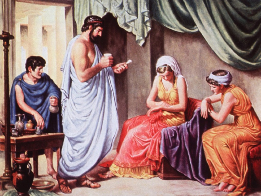Galen (131-201 A.D.), Greco-Roman physician administering a medicinal compound, and a woman rubbing the mixture on her arm. 20th century illustration by Robert Thom. : Stock Photo