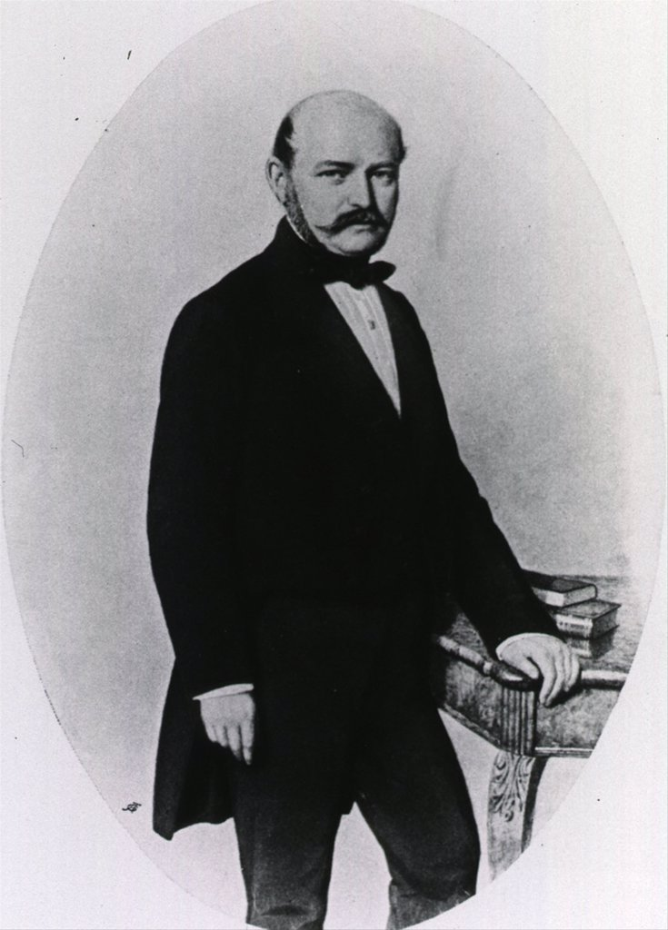 Stock Photo: 4048-6116 Ignaz Philipp Semmelweis (1818-1865), German-Hungarian physician, greatly reduced puerperal (childbed) fever by requiring doctors to wash their hands. His practices were accepted only in Hungary. In the rest of Europe his ideas were generally rejected until Lister's successful advocacy of antiseptic medical practice.