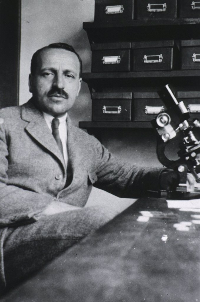 Stock Photo: 4048-6189 George Papanicolaou (1883-1962), Greek-born American physician developed a simple cytological test for cervical cancer in 1928. It was named after him, and is best known for its abbreviated version, 'pap test.'
