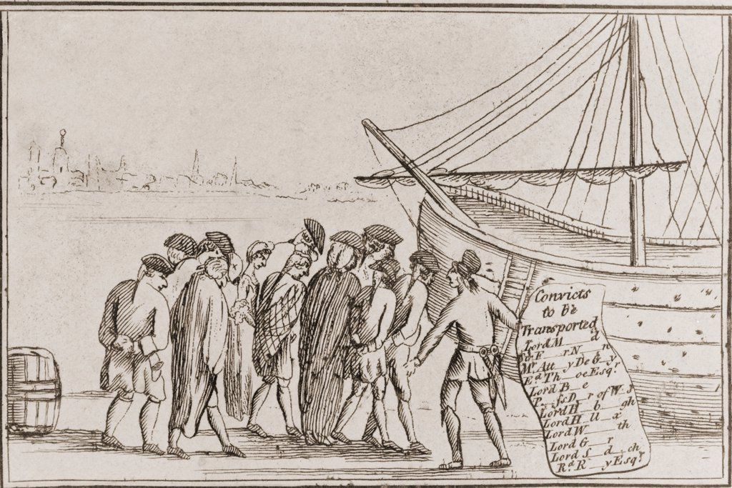 Stock Photo: 4048-6275 Forced emigration to the colony of Georgia in North America of debt ridden English lords, esquires, and attorneys, who were sentenced to transportation to Georgia. The deportation of debtors reduced the English prison population during the early reign of George III.