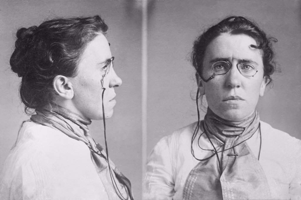Emma Goldman (1869-1940) mugshots. She served jail terms for her radical socialist activities, which included lecturing on birth control, opposing military conscription. In 1908 she was deprived of her citizenship. : Stock Photo