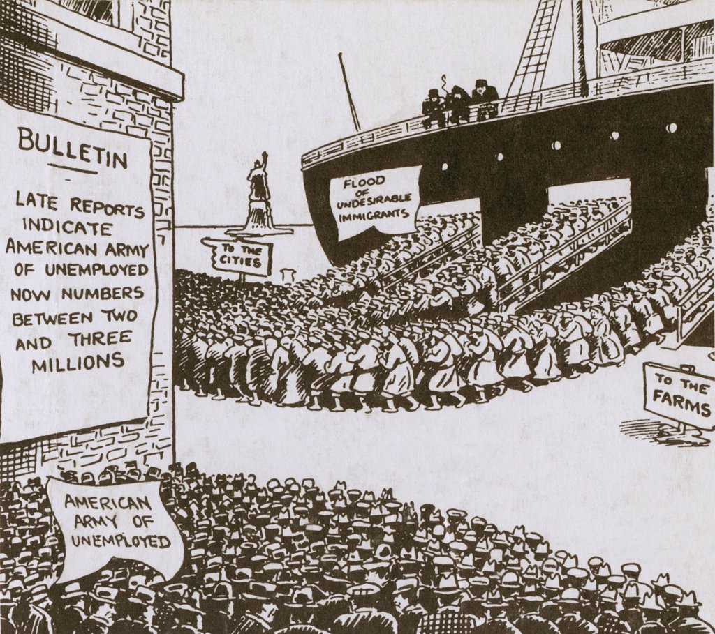 Stock Photo: 4048-6416 Anti-immigration cartoon of shows disembarking immigrants heading for the American cities as an army of unemployed Americans watch. Ca. 1920.