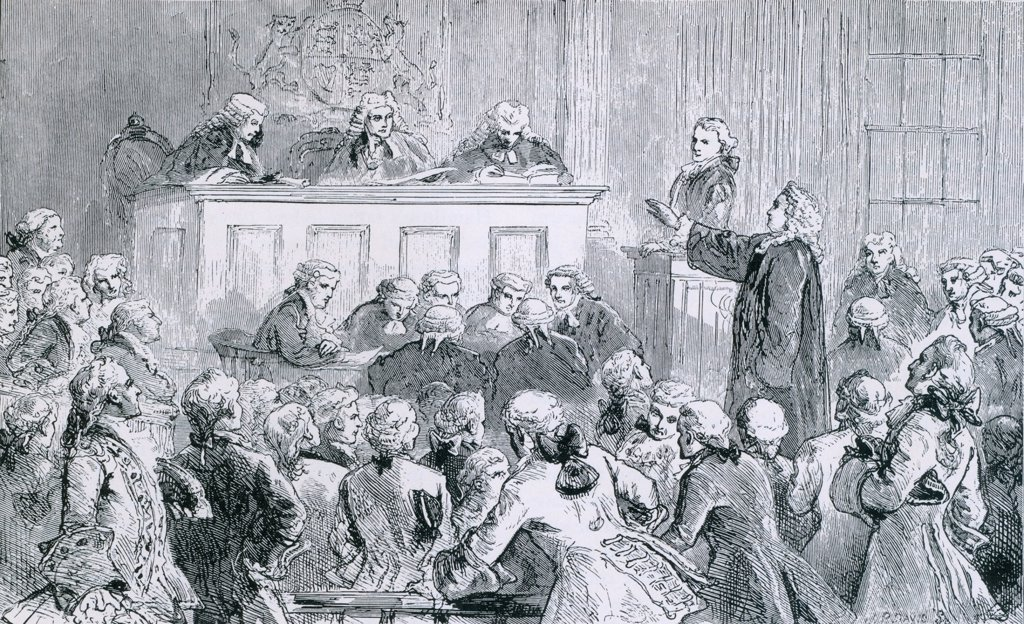 Stock Photo: 4048-6751 Peter Zenger, a colonial New York printer of the NEW YORK JOURNAL, in the dock (at right), was successfully defended by Andrew Hamilton, one of the best American lawyers, at his trial for seditious libel in 1735.