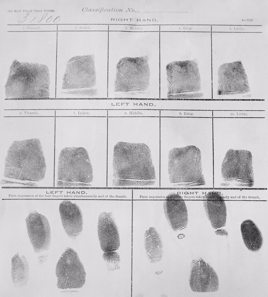 Stock Photo: 4048-6795 Fingerprint record sheet from the Navy Department in 1912. Fingerprints were introduced into police investigations in the early 20th century.