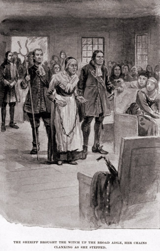 Stock Photo: 4048-6811 Salem Witch Trials. Elderly Rebecca Nurse in heavy chains after her conviction for witchcraft in June 1692. In spite of the petitions of many, an initial but then reversed 'not guilty verdict', she was hung on July 19, 1692.